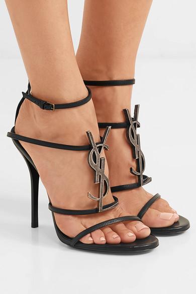 74007789 SAINT LAURENT | Cassandra logo-embellished leather sandals | NET-A ...