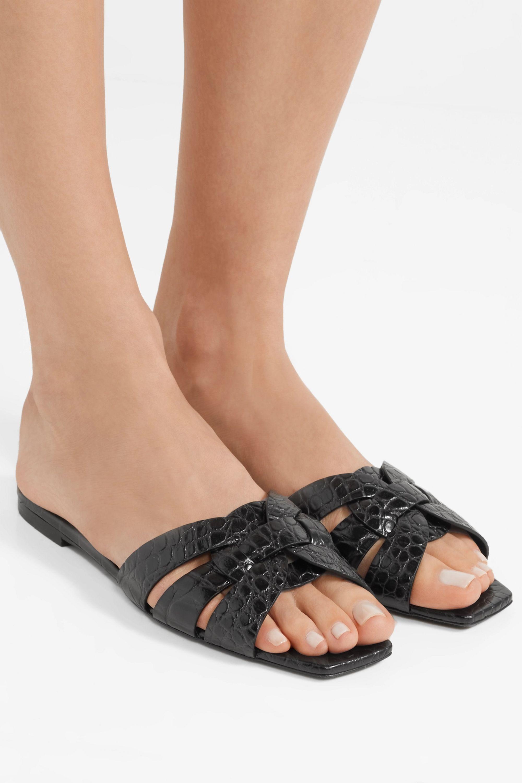 SAINT LAURENT Nu Pieds woven croc-effect leather slides