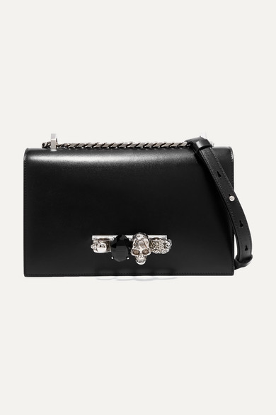 Alexander Mcqueen Jewelled Satchel Embellished Leather Shoulder Bag Net A Porter Com