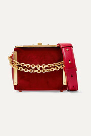 Alexander McQueen Box Bag 16 velvet and leather shoulder bag