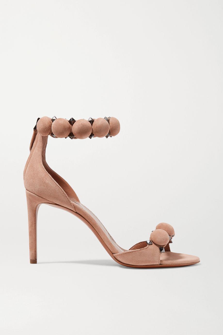 Alaïa Bombe 90 铆钉绒面革凉鞋