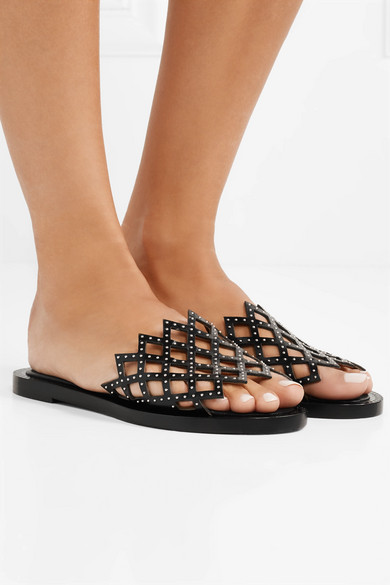 Alaïa Leder | Pantoletten aus lasergeschnittenem Leder Alaïa mit Nieten 2b8bba