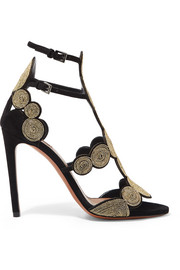 Alaïa 110 embroidered suede sandals