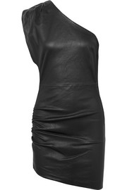 Apria one-shoulder gathered leather mini dress