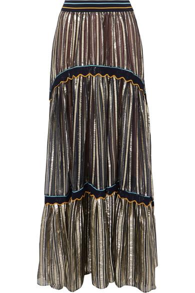 Peter Pilotto - Striped Metallic Silk-blend Chiffon Maxi Skirt - Gold