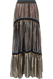 Striped metallic silk-blend chiffon maxi skirt