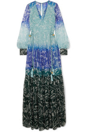 Floral-print silk-crepon gown
