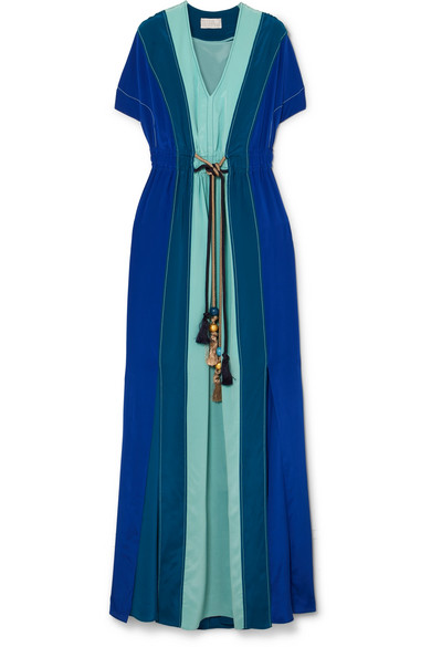 Peter Pilotto - Gathered Paneled Silk Gown - Blue