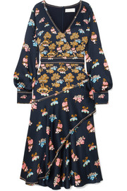 Peter Pilotto Wrap-effect printed hammered-silk midi dress