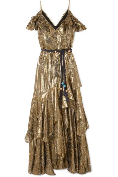 Cold-shoulder Ruffled Floral-print Lamé Maxi Dress - Gold Peter Pilotto Discount Reliable DQ25Yf