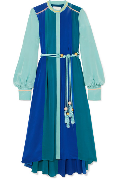 Peter Pilotto - Paneled Silk-satin Midi Dress - Blue