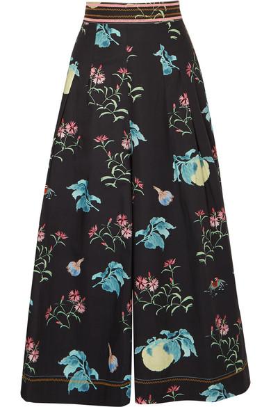 Peter Pilotto - Floral-print Cotton Culottes - Black