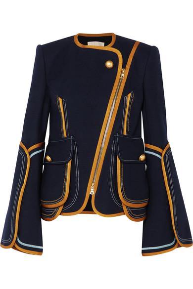 Peter Pilotto - Grosgrain-trimmed Cotton-blend Jacket - Navy