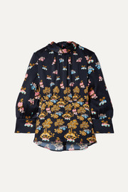 Peter Pilotto Floral-print hammered-silk blouse