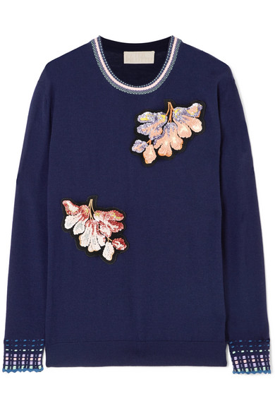 Peter Pilotto - Embellished Wool Sweater - Navy