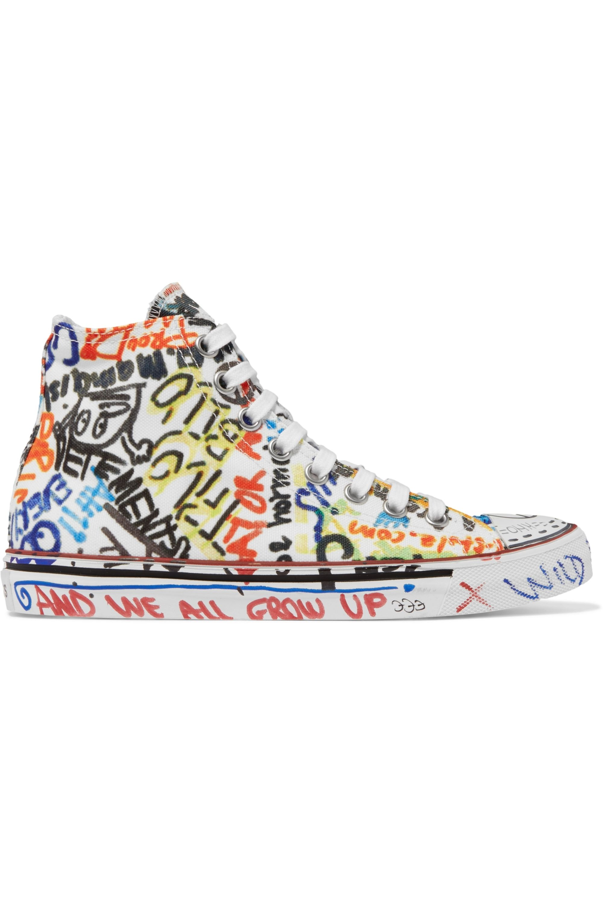 White Printed canvas high-top sneakers