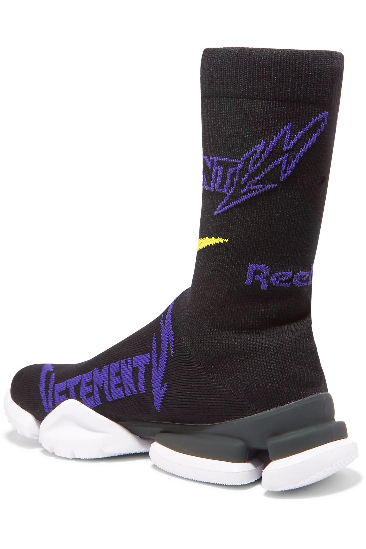 Vetements + Reebok Metal logo-jacquard stretch-knit sneakers