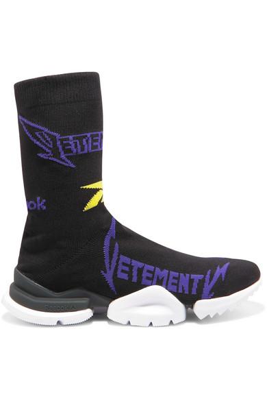 + Reebok Metal Logo-Jacquard Stretch-Knit Sneakers in Black
