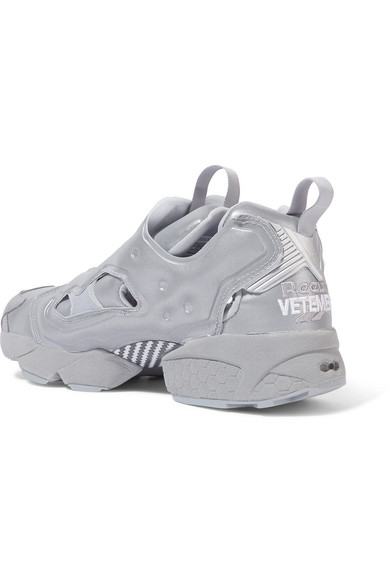 d1eb36eda13 Vetements. + Reebok Instapump Fury reflective leather sneakers. £714. Play