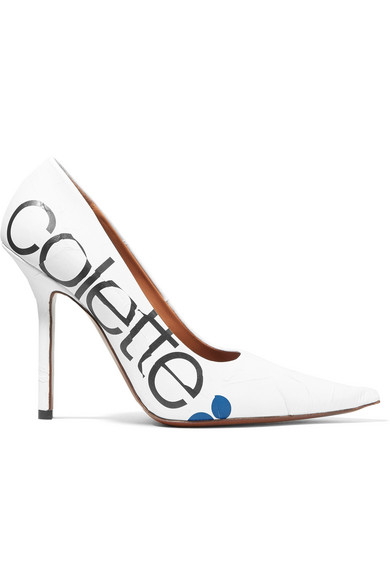 Colette Printed Leather Pumps in White