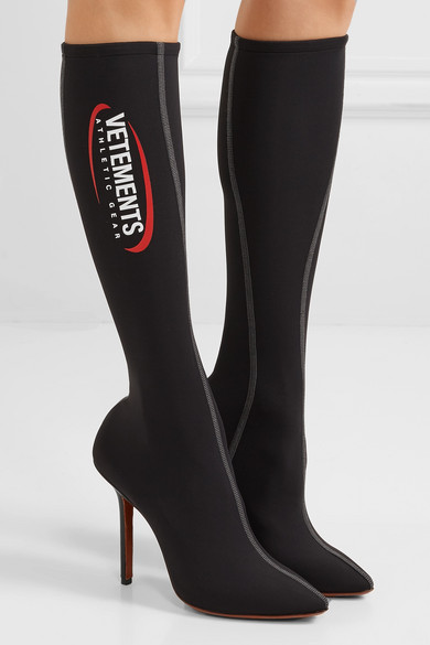Vetements Boots Athletic printed spandex knee sock boots