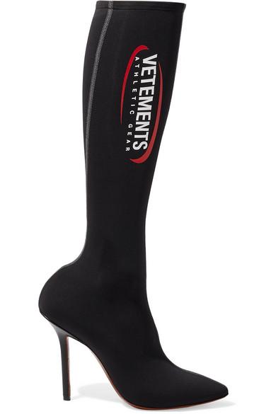 Vetements - Athletic Printed Spandex Knee Sock Boots - Black