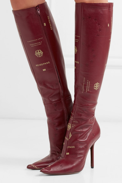 Vetements Boots Passport printed textured-leather knee boots