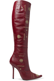 Vetements Passport printed textured-leather knee boots