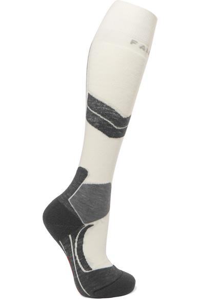 Sk4 Wool-Blend Ski Socks, White