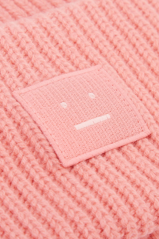 Acne Studios Pansy Face appliquéd ribbed wool beanie