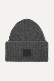 Pansy Face appliquéd ribbed wool-blend beanie