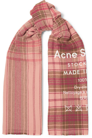 29cb9fce166 Acne Studios | Cassiar printed checked wool scarf | NET-A-PORTER.COM