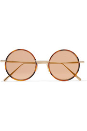 Acne Studios Scientist round-frame tortoiseshell acetate and gold-tone sunglasses