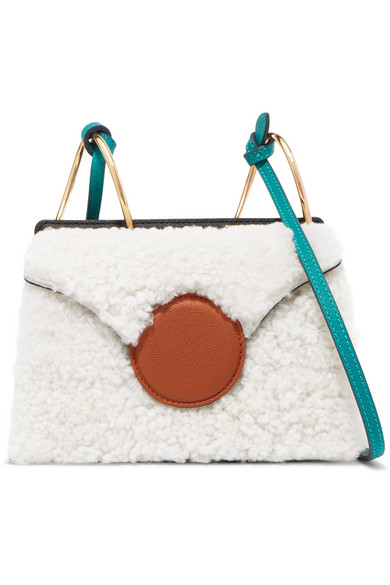 Phoebe mini color-block shearling and leather shoulder bag