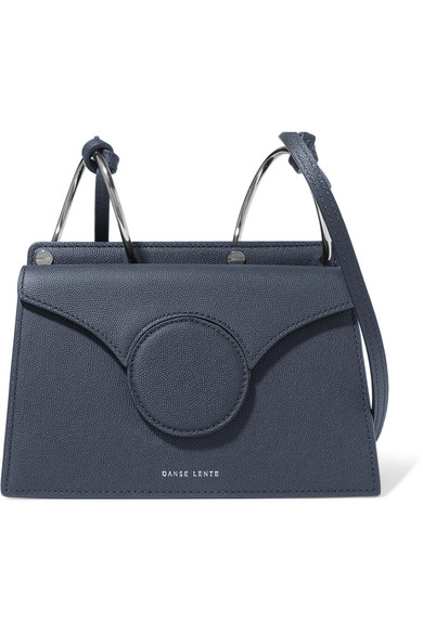 DANSE LENTE Phoebe Mini Textured-Leather Shoulder Bag in Navy