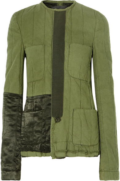 Velvet-Trimmed Quilted Cotton Jacket, Army Green