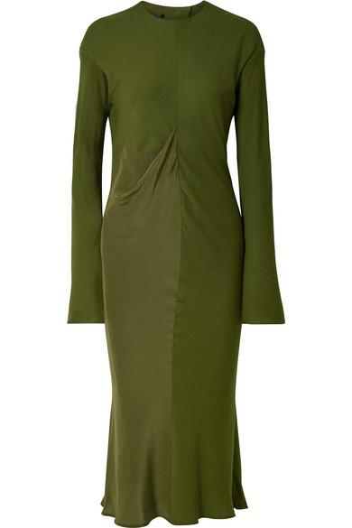 Haider Ackermann - Draped Satin-crepe And Jersey Midi Dress - Army green