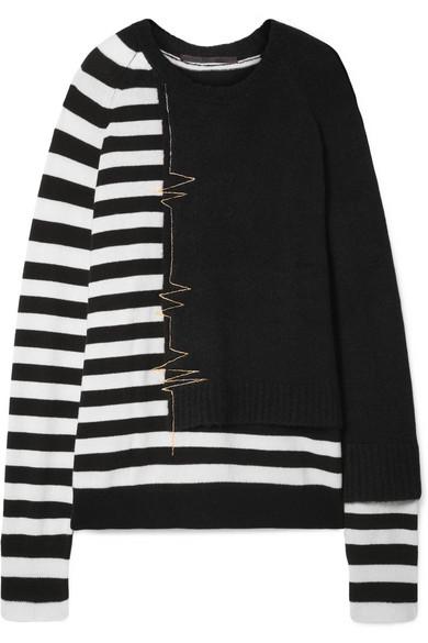 Haider Ackermann - Oversized Striped Wool-blend Sweater - Black