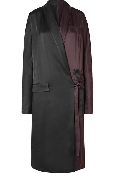 Haider Ackermann - Two-tone Satin-crepe Wrap Dress - Black