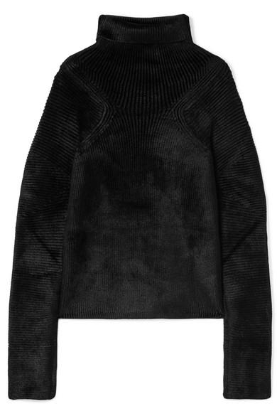 Haider Ackermann - Oversized Ribbed Chenille Turtleneck Sweater - Black