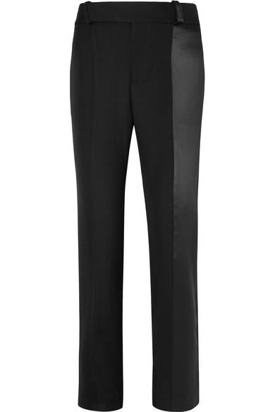 Haider Ackermann - Satin-paneled Wool Straight-leg Pants - Black
