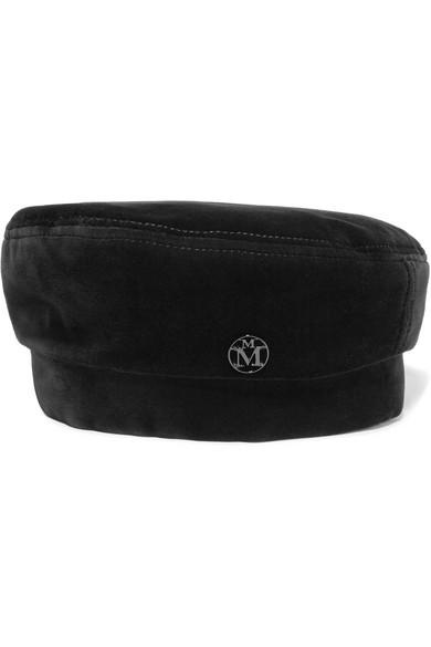 Maison Michel - Florence Cotton-blend Velvet Beret - Black