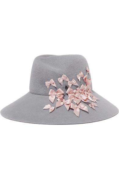 Maison Michel - Roe Bow-embellished Rabbit-felt Hat - Gray