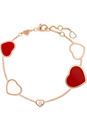 Happy Hearts 18-karat rose gold, diamond and red stone bracelet
