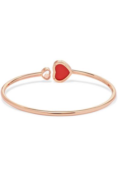 Chopard Happy Hearts 18-karat Rose Gold, Diamond And Red Stone Cuff