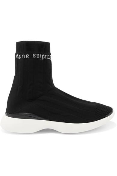 Acne Studios mit | Batilda Sneakers aus Stretch-Strick mit Studios Jacquard-Logo und Mesh-Besatz 2d7685