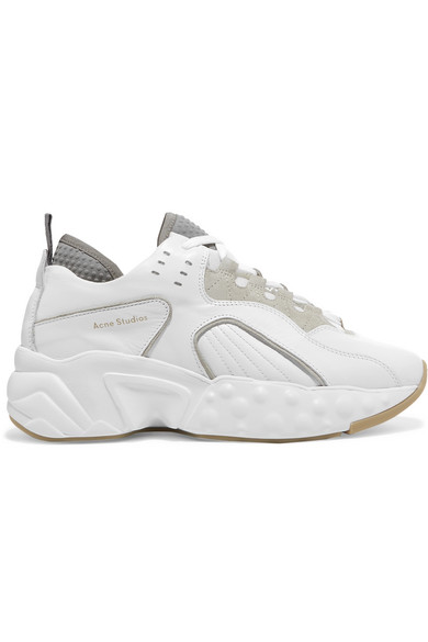 Manhattan Leather, Suede And Mesh Sneakers, White