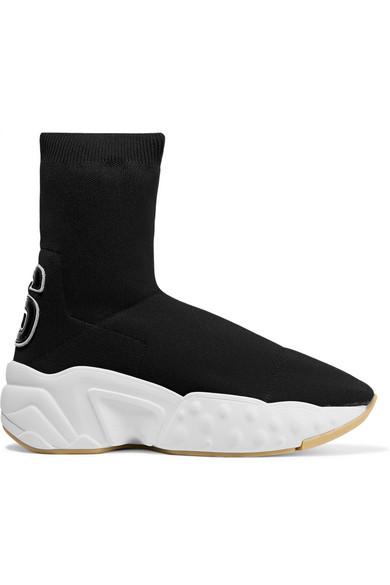 Acne Studios Hosiery Leather-appliquéd stretch-knit sock sneakers