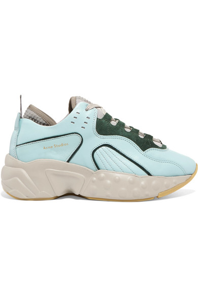 Acne Studios - Manhattan Leather, Suede And Mesh Sneakers - Green