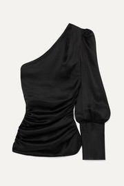 A Little After Ten one-shoulder ruched silk-satin top